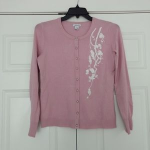 Pink and White Embroidered Cardigan, Small